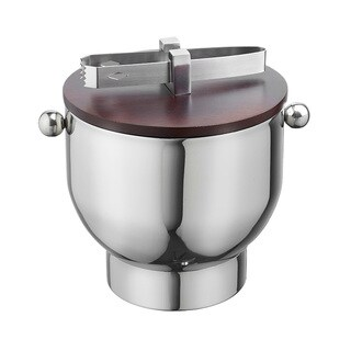 Forme Polished Stainless Steel 3-quart Ice Bucket with Wood Lid and Tongs
