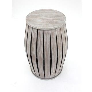 Washed Grey Barrel Wood Table