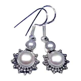 Hand-crafted Sterling Silver 1-mm Pearl Earrings (India)