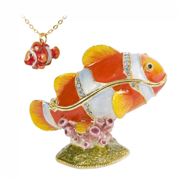 Emmett the Clown Fish Swarovski Crystal Trinket Box with Pendant