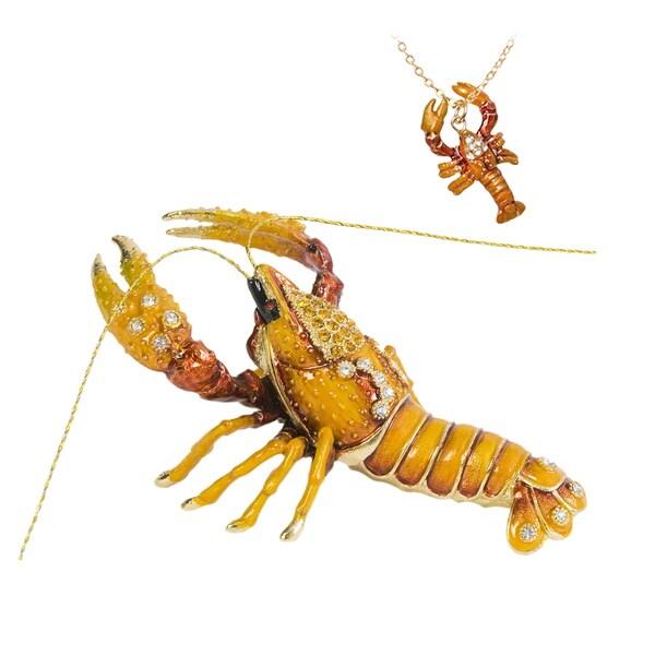 Lobster Swarovski Crystal Trinket Box