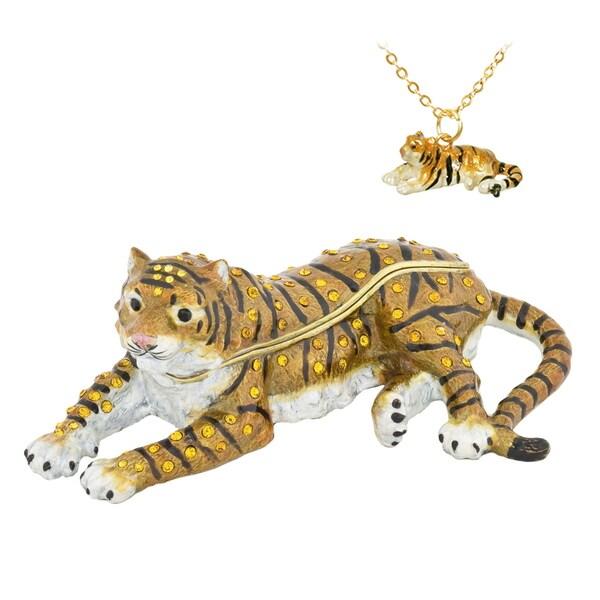 Tiger Swarovski Crystal Trinket Box with Pendant