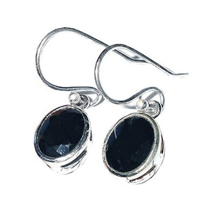 Hand-crafted Sterling Silver 2ct TGW Black Onyx Earrings (India)