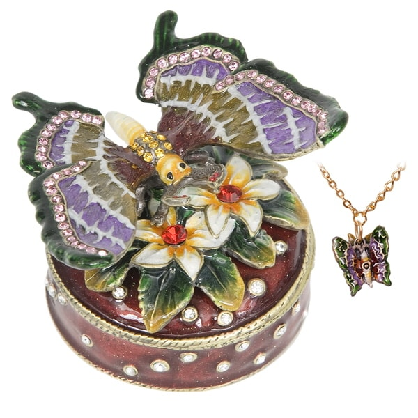 Butterfly Flower Swarovski Crystal Trinket Box with Pendant