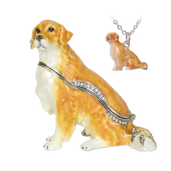 Golden Retriever Swarovski Crystal Trinket Box with Pendant