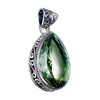 Handmade Sterling Silver Faceted Green Amethyst Pendant (India)