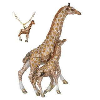 Mother and Baby Giraffe Trinket Box with Pendant