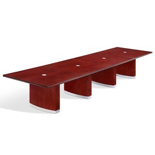 Summit 16-foot Cherry Finish Reed Rectangular Expandable Conference Table