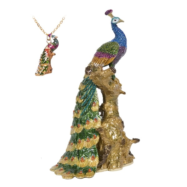 Large Peacock on a Branch Swarovski Crystal Trinket Box