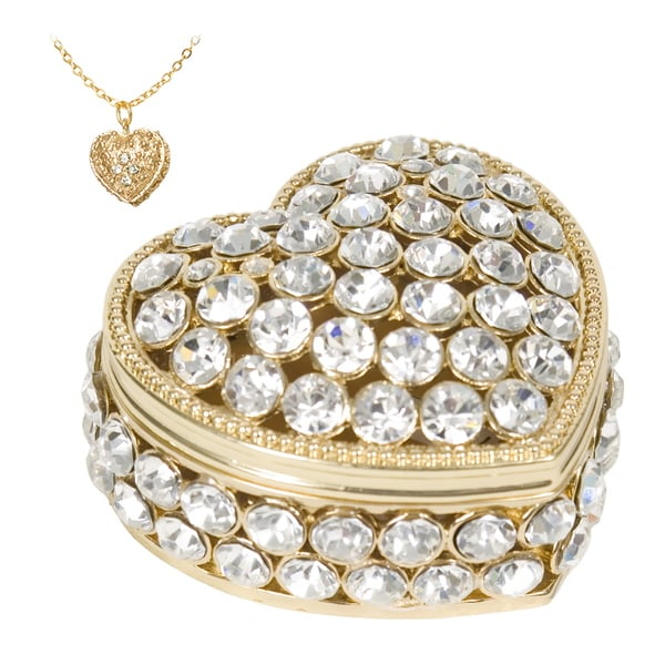 Heart Swarovski Crystal Trinket Box with Pendant