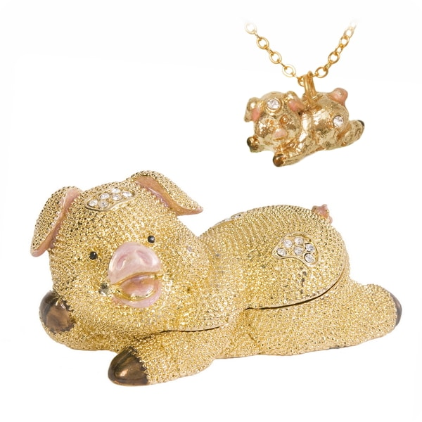 Cute Pig Trinket Box with Matching Pendant