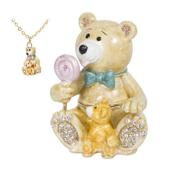 Bear Swarovski Crystal Trinket Box with Pendant