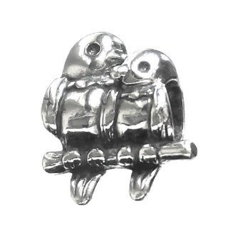 Queenberry Sterling Silver In Love Parrot Couple Kissing European Bead Charm