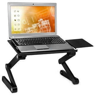 Mount-It! MI-7211 Portable Adjustable Aluminum Laptop Tray with Built-in Dual Cooling Fan and Mouse Tray