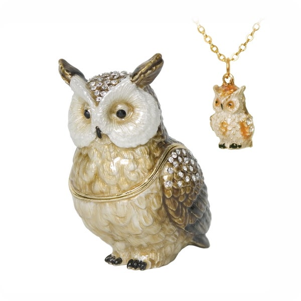 Owl Trinket Box with Pendant