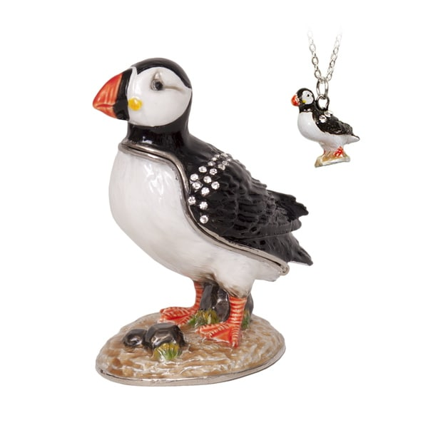 Alaskan Puffin Bird Trinket Box with Pendant