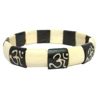 Tiara Global Dual Color Om Beads Stretch Bracelet