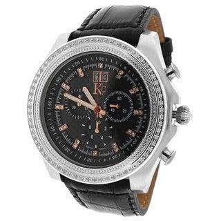 KC Men's WPX Stainless Steel Chronograph Watch Carbon Fiber Dial 70 Round White Diamonds Black Leather Strap