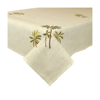 Design Imports Palm Tree Embroidered Tablecloth (60 x 120 inches)
