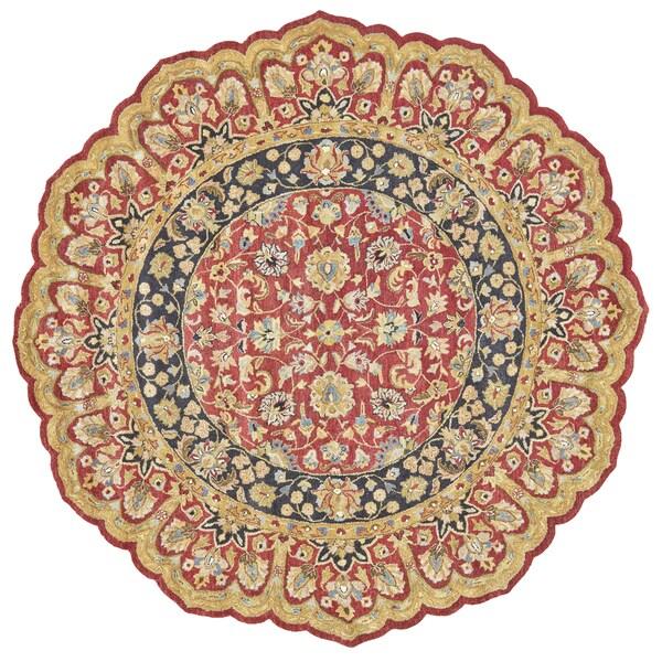Grand Bazaar Tufted 100-percent Wool Pile Ziba Rug in Red/Black 8' X 8' Round