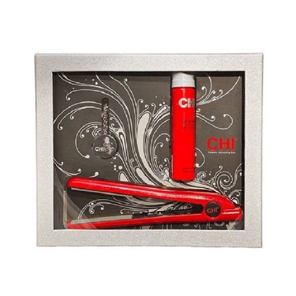 CHI Ruby Glitter Flat Iron with Solid Perfume Necklace and Hairspray