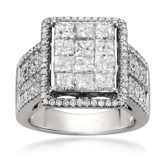 14k White Gold 4ct TDW Princess-cut Diamond Composite Engagement Ring (H-I, I1-I2)