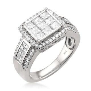 14k White Gold 1 3/5ct TDW Princess-cut Diamond Ring (G-H, SI2)