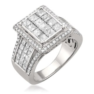 14k White Gold 2 7/8ct TDW Princess-cut Diamond Ring (H-I, I1-I2)