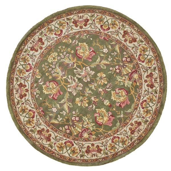 Grand Bazaar Hand-knotted 100-percent Wool Pile Tamara Rug in Olive/Ivory 8' x 8' Round