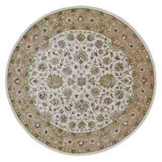 Grand Bazaar Tufted 100-percent Wool Pile Ziba Rug in Ivory/Peach 8' x 8' Round