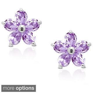 Dolce Giavonna Sterling Silver Gemstone Flower Stud Earrings