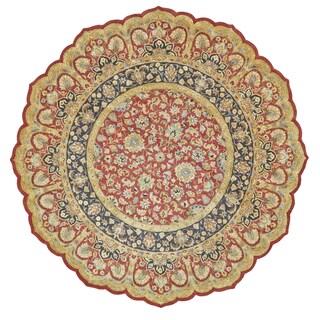 Feizy Ziba Red/ Black Geometric Rug (10' Round)
