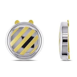 Miadora 18k Two-tone Gold Round Button Cover Cuff Links