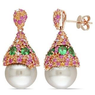Miadora 14k Yellow Gold South Sea Pearl Tsavorite Sapphire and 1/6ct TDW Diamond Earrings (G-H, SI1-SI2)