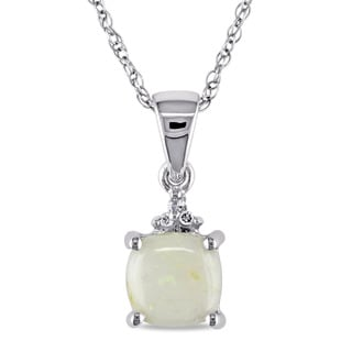Miadora 10k White Gold Opal and Diamond Accent Necklace