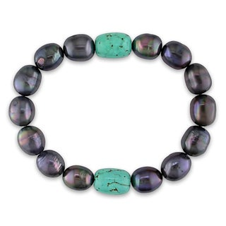 Miadora Cultured Freshwater Black Pearl and Turquoise Bead Elastic Bracelet (9-10mm)