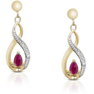 Dolce Giavonna Gold Over Sterling Silver Gemstone and Diamond Accent Infinity Design Earrings