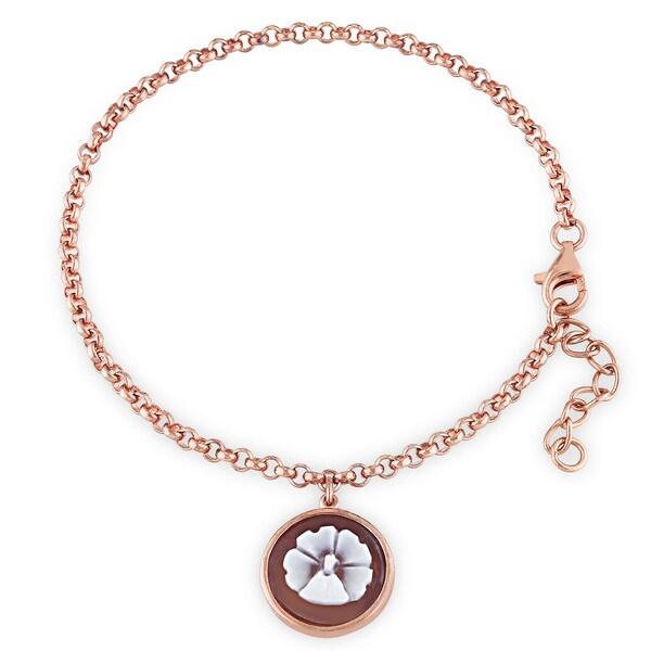 Miadora Rose Plated Silver Cameo Chain Bracelet