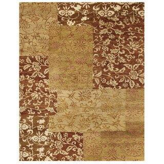 Grand Bazaar Qing Aura Brown Wool Rug (8'6 x 11'6)