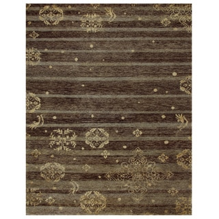 Qing Soil Brown Wool Rug (8'6 x 11'6)
