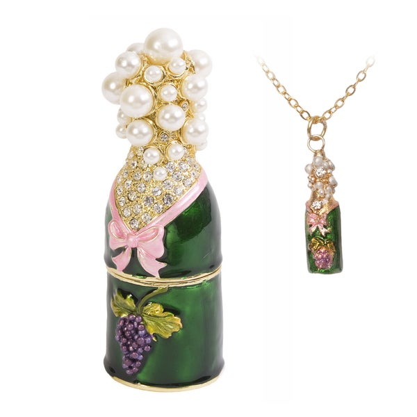 Champagne Bottle Trinket Box with Pendant