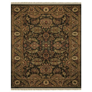 "Grand Bazaar Hand-knotted 100-percent Wool Pile Edmonton Rug in Charcoal/Charcoal 8'-6"" x 11'-6"""