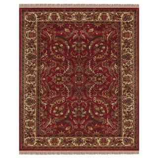 "Grand Bazaar Hand-knotted 100-percent Wool Pile Edmonton Rug in Red/Ivory 8'-6"" x 11'-6"""