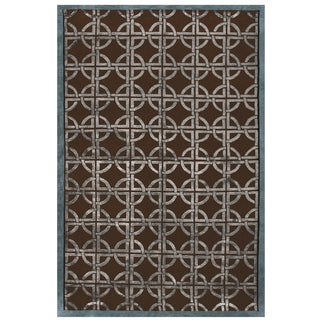 "Grand Bazaar Hand-knotted Wool & Viscose Dim Sum Rug in Chocolate/Steel 8'-6"" x 11'-6"""