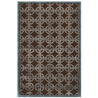 Feizy Dim Sum Chocolate/ Steel Geometric Area Rug (8'6 x 11'6)