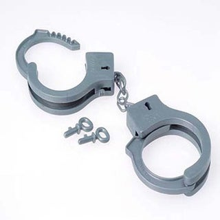 Grey Fake Plastic Handcuffs with Keys