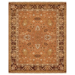 """Grand Bazaar Hand-knotted 100-percent Wool Pile Pietra Rug in Rust/Brown 7'-9"""" x 9'-9"""""""