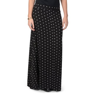 Journee Collection Women's Polka-dot Print Elastic Waist Maxi Skirt