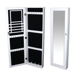 Essential White Wooden Jewelry Display Cabinet/ Standing Mirror