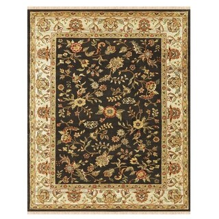 """Grand Bazaar Hand-knotted 100-percent Wool Pile Wimbledon Rug in Charcoal/Sand 5'-6"""" x 8'-6"""""""